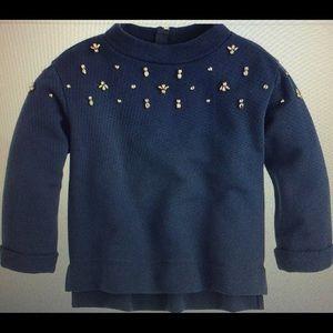Crewcuts Girl Embellished Back Zip Sweatshirt